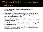 what are adult education career pathways