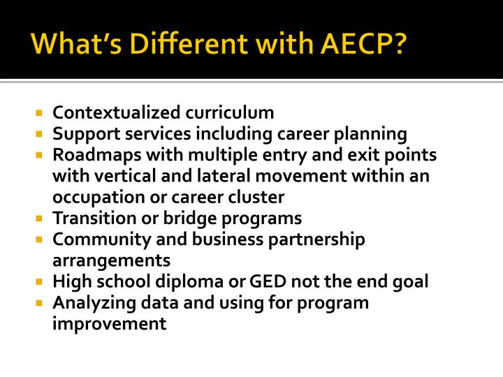 What's Different with AECP?