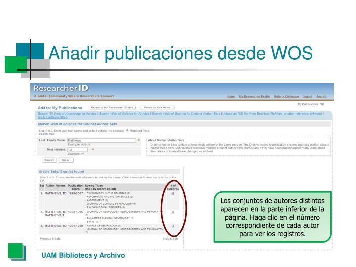 Añadir publicaciones desde WOS
