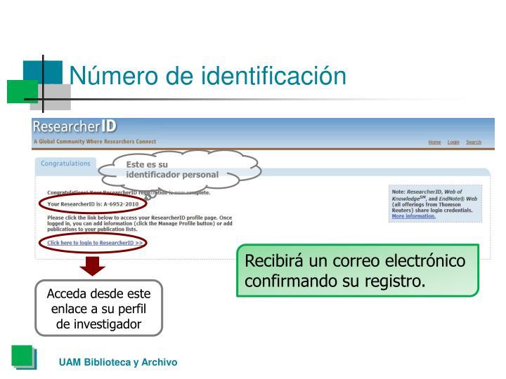 Número de identificación