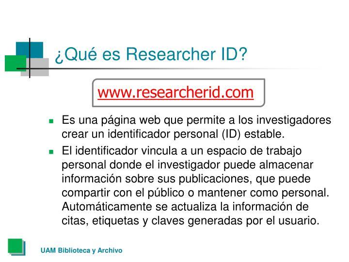 ¿Qué es Researcher ID?