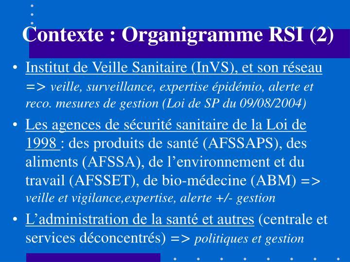 Contexte : Organigramme RSI (2)