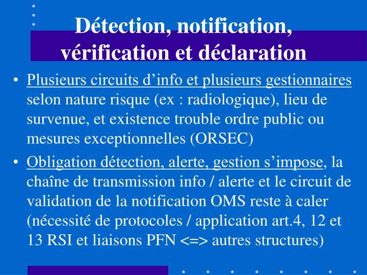 Détection, notification, vérification et déclaration