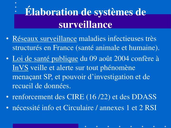 Élaboration de systèmes de surveillance