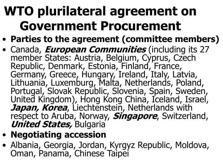 WTO plurilateral agreement on Government Procurement