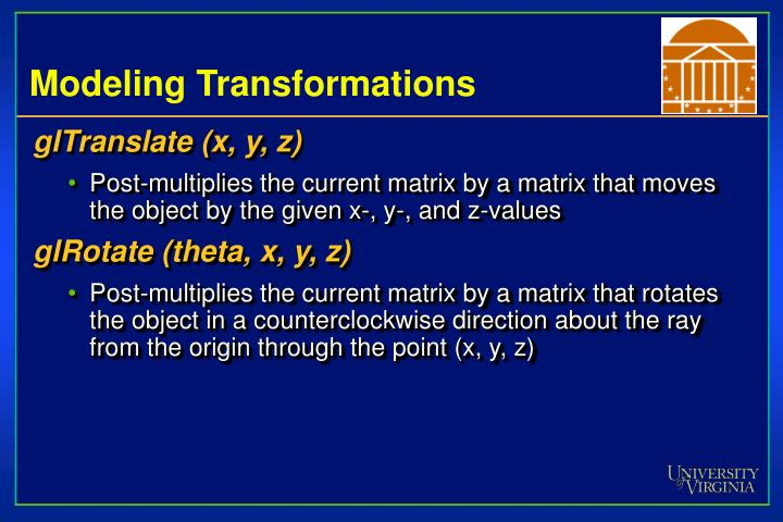 Modeling Transformations