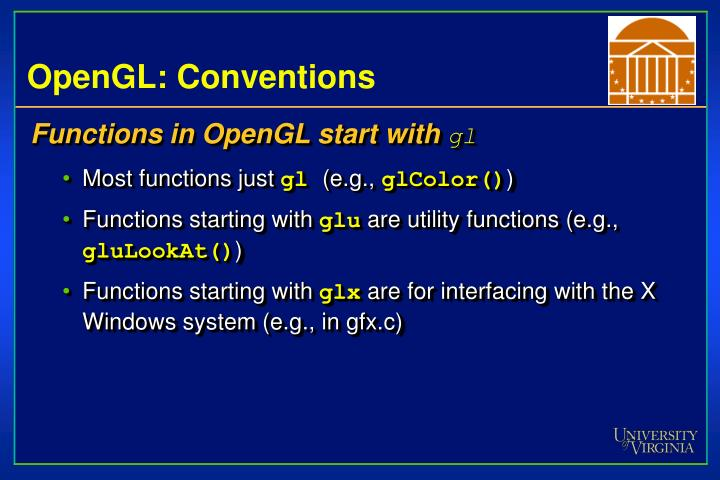 OpenGL: Conventions