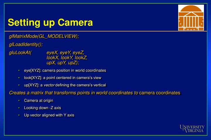 Setting up Camera