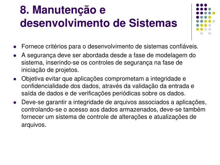 8. Manutenção e desenvolvimento de Sistemas