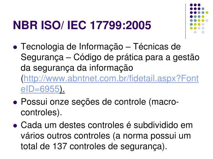 NBR ISO/ IEC 17799:2005