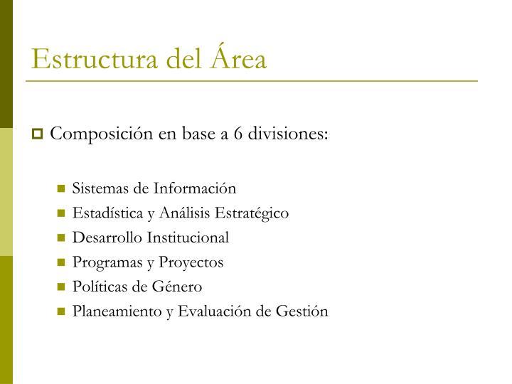 Estructura del Área
