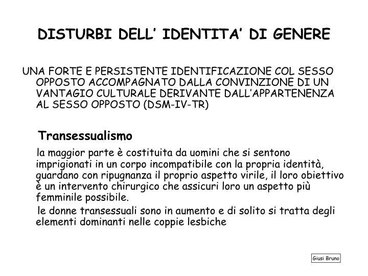 DISTURBI DELL' IDENTITA' DI GENERE