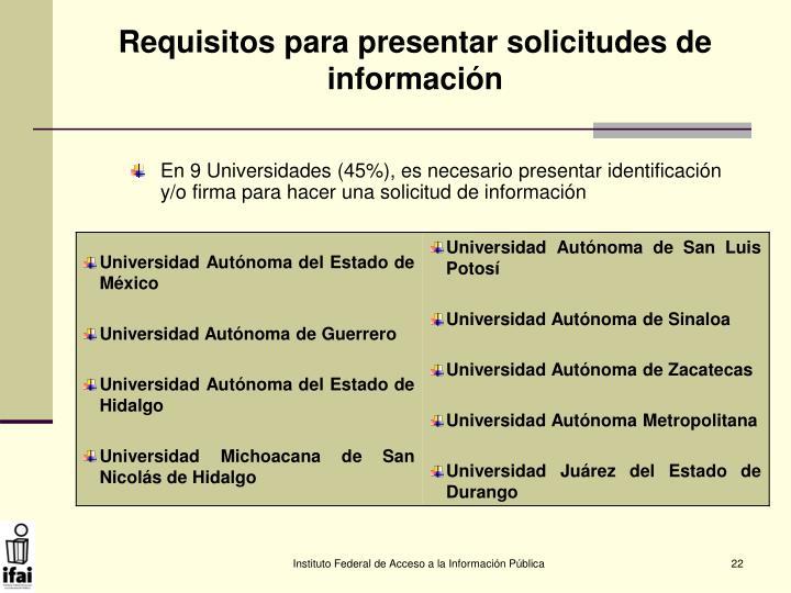 Requisitos para presentar solicitudes de información