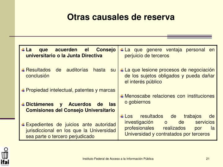 Otras causales de reserva