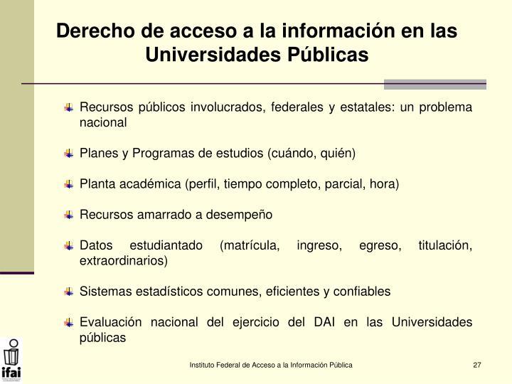 Derecho de acceso a la información en las Universidades Públicas