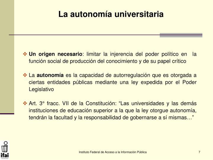 La autonomía universitaria