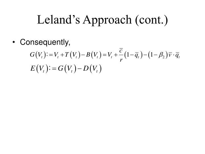 Leland's Approach (cont.)