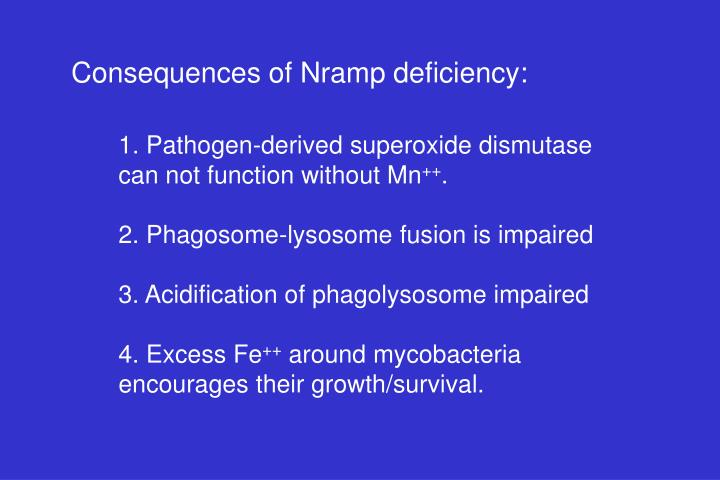 Consequences of Nramp deficiency: