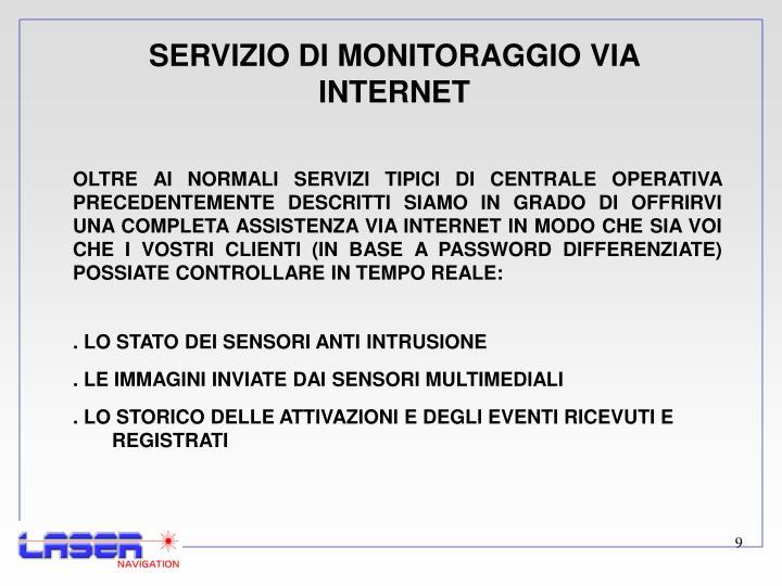 SERVIZIO DI MONITORAGGIO VIA INTERNET