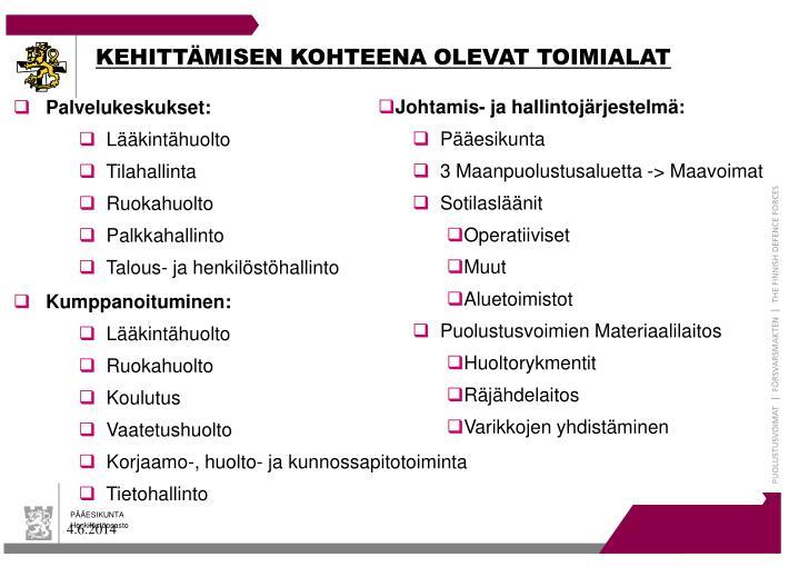 KEHITTÄMISEN KOHTEENA OLEVAT TOIMIALAT