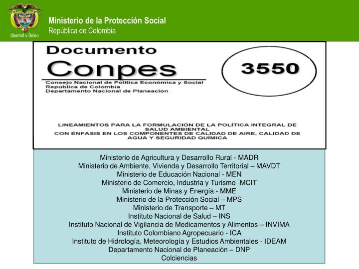 Ministerio de Agricultura y Desarrollo Rural - MADR