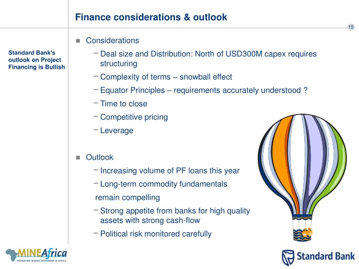 Finance considerations & outlook