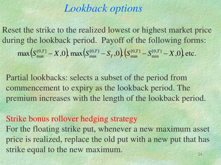 Lookback options