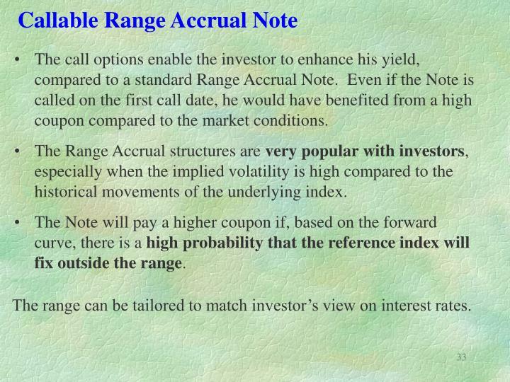 Callable Range Accrual Note