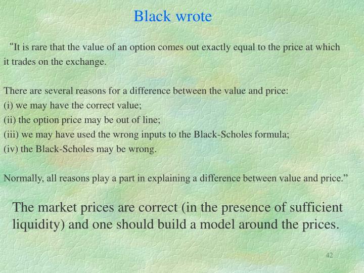 Black wrote