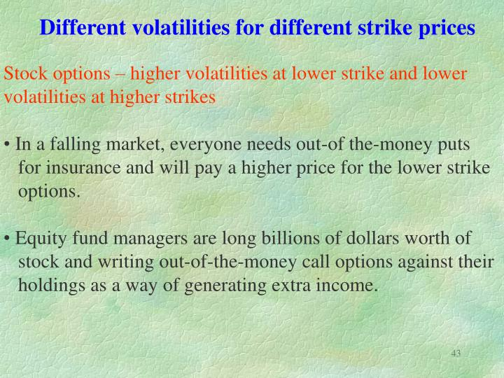 Different volatilities for different strike prices