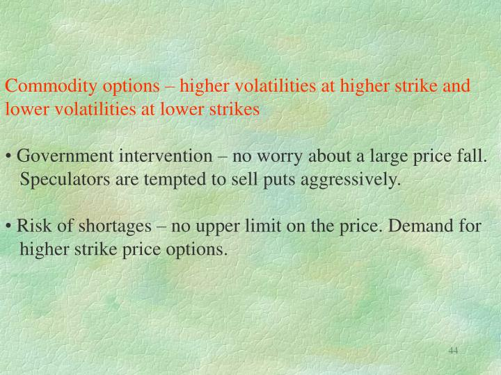 Commodity options – higher volatilities at higher strike and