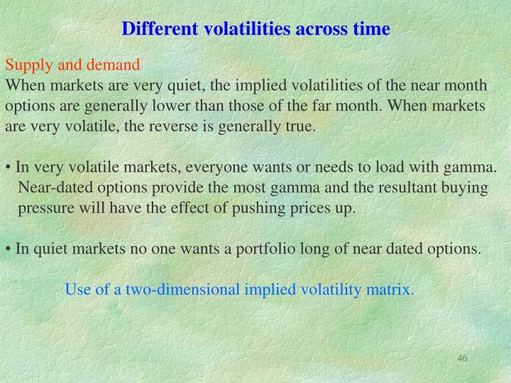 Different volatilities across time
