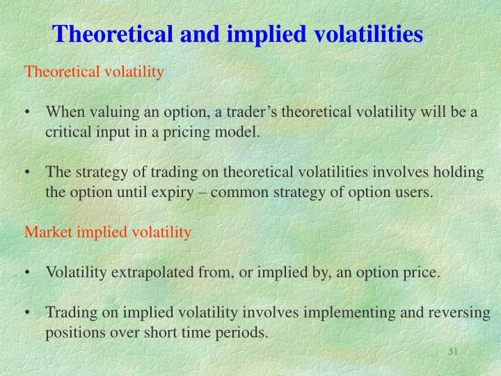 Theoretical and implied volatilities