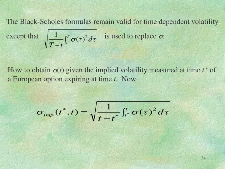 The Black-Scholes formulas remain valid for time dependent volatility