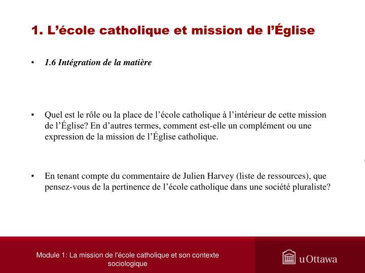 1. L'école catholique et mission de l'Église