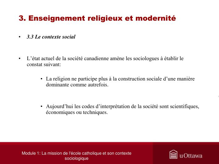 3. Enseignement religieux et modernité