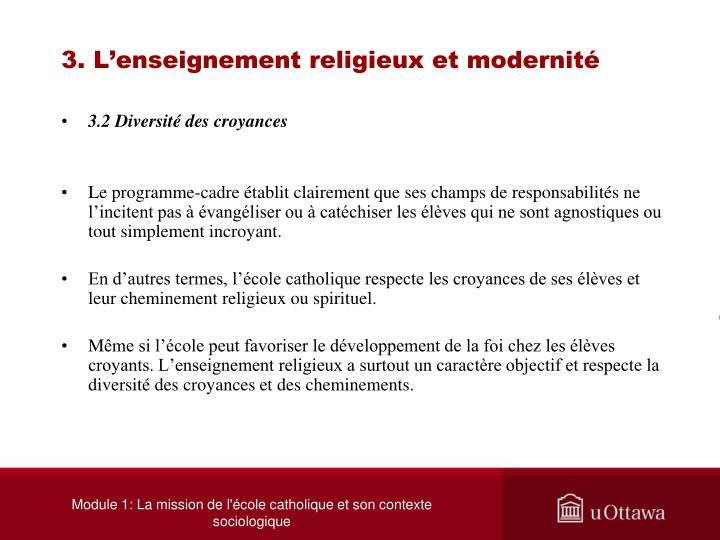 3. L'enseignement religieux et modernité