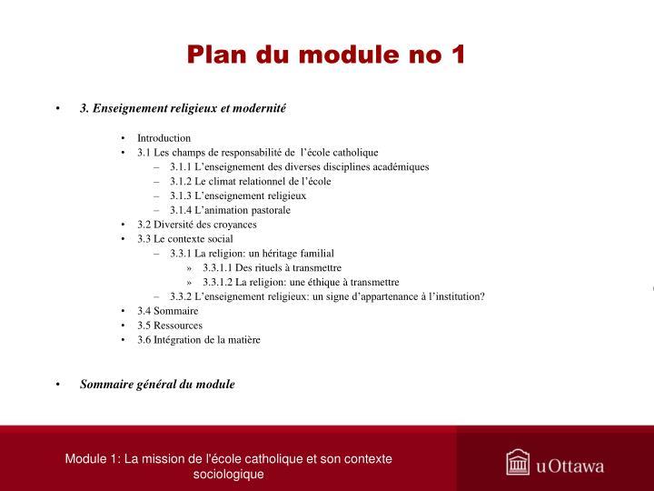 Plan du module no 1