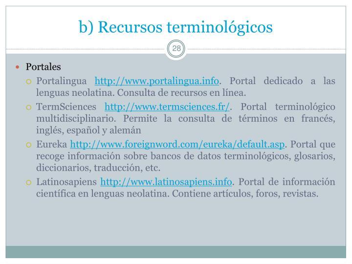 b) Recursos terminológicos