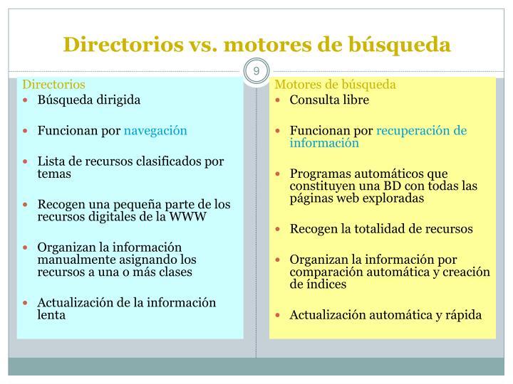 Directorios vs. motores de búsqueda