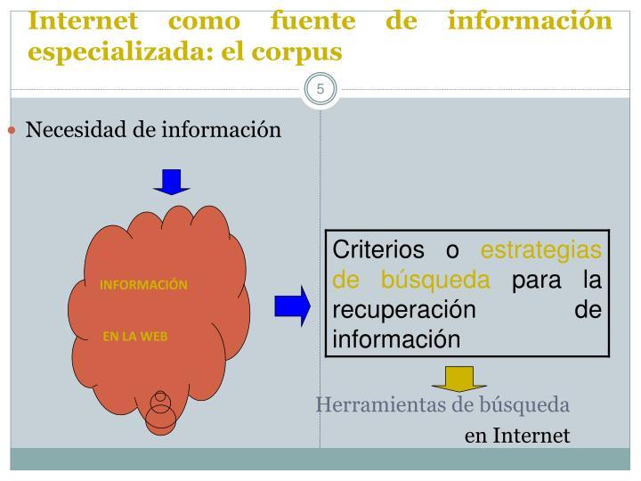 Internet como fuente de información especializada: el corpus