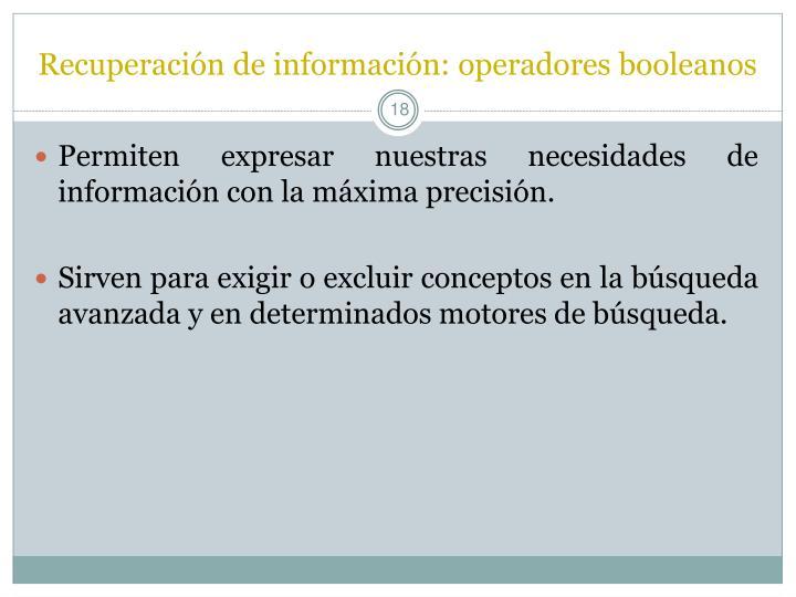 Recuperación de información: operadores booleanos