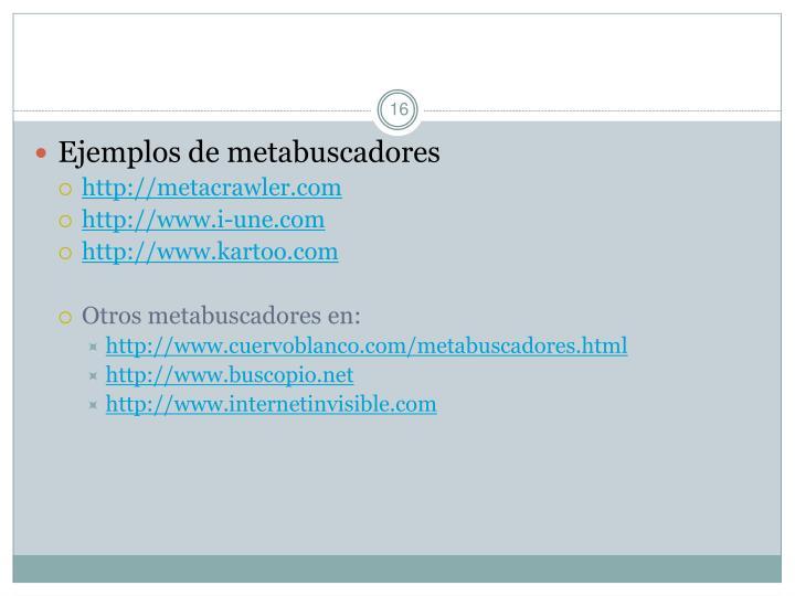 Ejemplos de metabuscadores