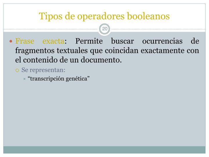 Tipos de operadores booleanos