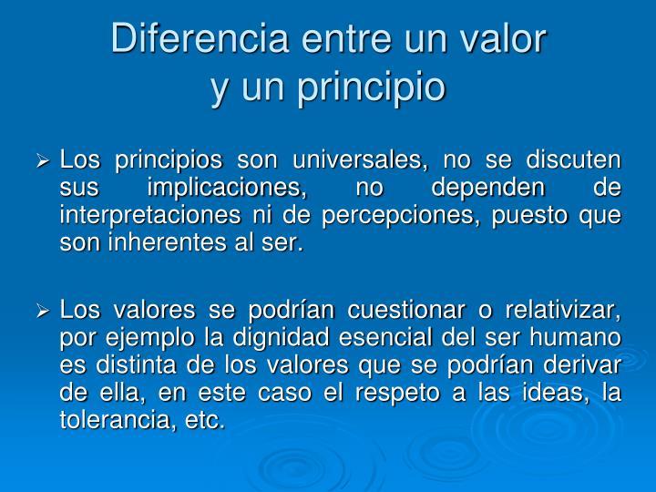 Diferencia entre un valor