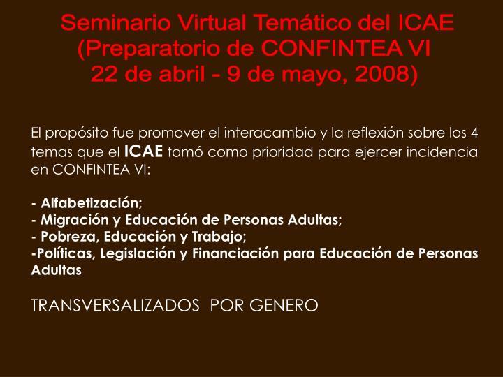 Seminario Virtual Temático del ICAE