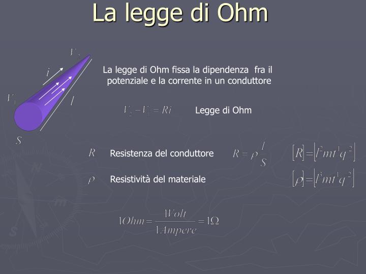 La legge di Ohm fissa la dipendenza  fra il