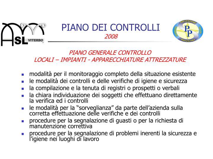 PIANO DEI CONTROLLI