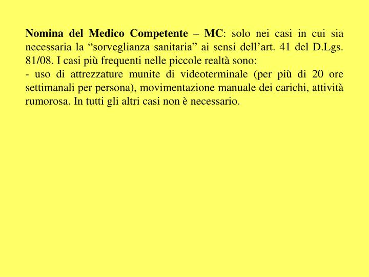 Nomina del Medico Competente – MC