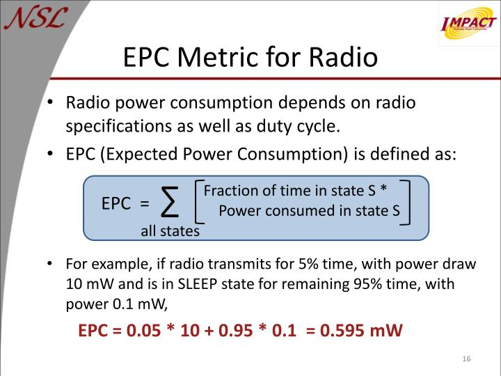 EPC Metric for Radio